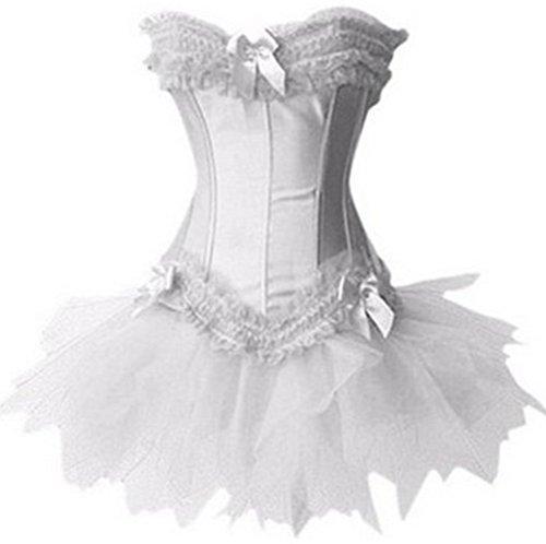 Pandolah Sexy Lingerie Fashion Lace up Corset Bustier Tutu Petticoat Skirt (US Size 4-6 (M), White 1) -