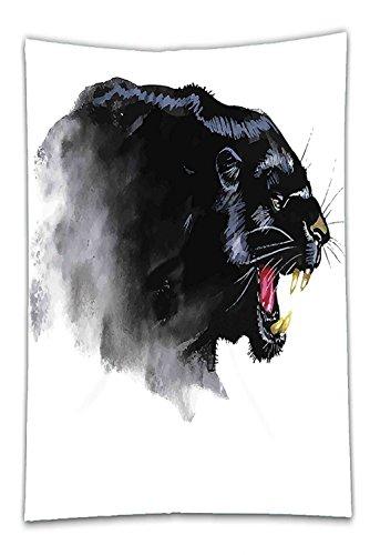 Pen Roller Jaguar Ball - Nalahome Fleece Throw Blanket Animal Decor Jaguar Safari Wild African Animal Looking Fierce with Teeths Abstract Art Black and White