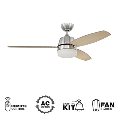 "Ellington BEL52BNK3CRW, Beltre Brushed Nickel 52"" Ceiling Fan w/ LT & Wall & Remote Control"