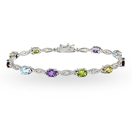 Sterling Silver Multi Color Gemstone Oval-Cut Swirl Tennis Bracelet