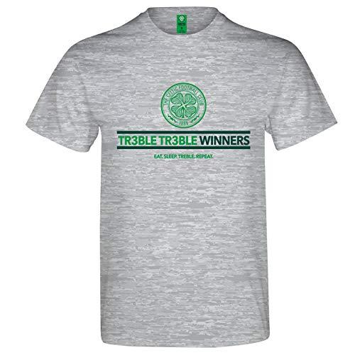 - Celtic FC Official Soccer Gift Mens Treble Treble Winners T-Shirt Grey XL