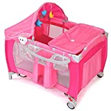 LHONE Portable Foldable Travel Baby Crib Playpen Baby 3 in One Crib Playpen Travel Playpen Changer w/Mosquito Net and Carring Bag (Pink)