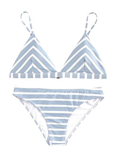 SOLYHUX Women's Adjustable Straps Triangle Bikini Swimsuits Blue Striated - Swimsuit Triangle Top Adjustable