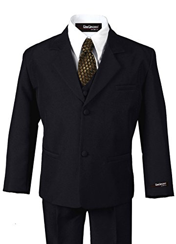US Fairytailes G187 BLACK/GOLD Formal Boys Kids Dress Suit From Baby to Teen (Large/12-18 Months, ()