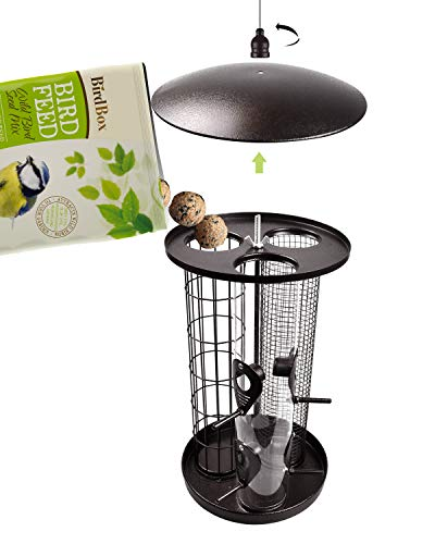 KALLAK Bird Feeders for Outside, Pre - Assmbled, Durable, Weather Proof, Easy to Clean, Suet Fat Ball & Seed & Nut 3 in 1 Hanging Bird Feeder (Brown)