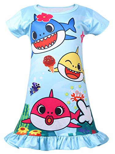 Coralup Toddler Girls Short Sleeve Nightgown Dress(Blue,4-5 Years) ()