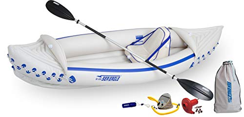 Sea Eagle SE330 Inflatable Sports Kayak Pro Solo Amazon Holiday Package with MB80 Electric Pump