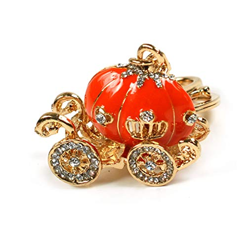 Cinderella Princess Enamel Rhinestone Pumpkin Carriage Crystal Keychain Rhinestone Crystal Handbag Key Charm Ring (Red Orange)