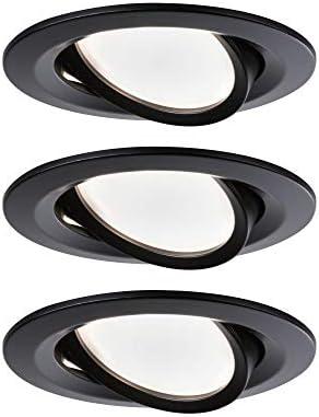 Paulmann 94471 Nova LED Einbauleuchte 3er Set Coin schwenkbar Warmweiß rund incl. 3x6,5 Watt Einbaustrahler Schwarz matt Spot Alu Einbaulampe 2700 K Coin