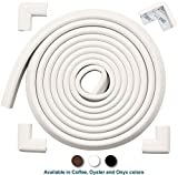 Roving Cove | Baby Proofing Edge Protectors & Corner Guards | Safety Foam Fireplace & Table Bumper | Pre-Taped Corners | Safe Edge & Corner Cushion | 16.2 ft [15 ft Edge + 4 Corners] | Oyster White