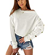 CinShein Women's Sweater Long Sleeve Off Shoulder Casual Crew Neck Knit Button Up Sweaters Tops L...