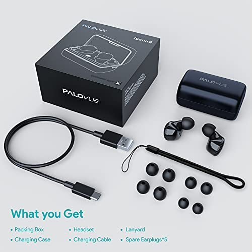 PALOVUE iSound True Wireless Earbuds, Qualcomm CSR Bluetooth 5.0 Headphones with 4-Mic and Noise Cancelling for Stereo Sound and Deep Bass, Touch Control Ear Buds