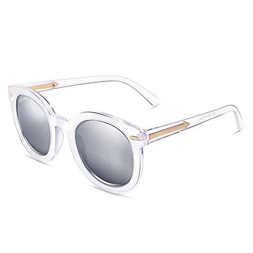 de mujer Transparente hombre Lente sol Polarizadas gafas de Gafas para VEGOOS Retro Plateado Sol Marco conducir Estilo gafas viajes playa UV400 5IFw1nxq