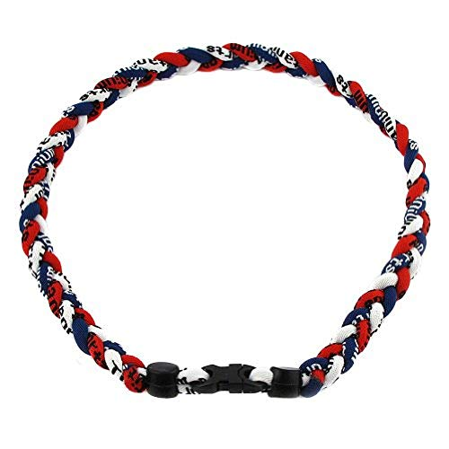 (Package of 10 Navy Blue Red White Tornado Necklaces)