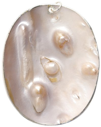 Silver Shipwreck Beads Blister Pearl Shell Oval Pendants 60mm Average
