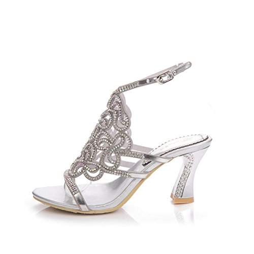 Zapatos de Mujer de Verano Coreano Diamantes de imitación Huecos Sandalias Atractivas Diamante de tacón Alto de Gama Alta Sandalias de Mujer de Cristal (Color : Plata, tamaño : 34)