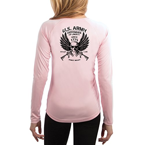 Fort Riley Army Base (Dead Or Alive Clothing U.S. Army Fort Riley Women's UPF 50+ Long Sleeve T-Shirt Medium Pink Blossom)