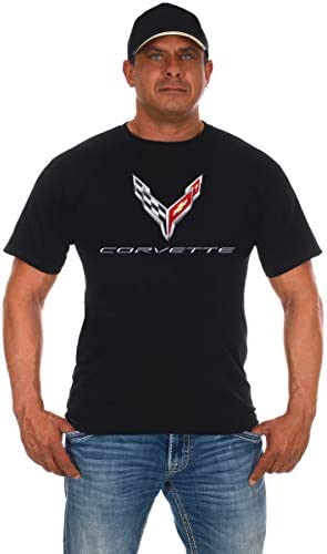 JH DESIGN GROUP Mens Chevy Corvette T-Shirt C8 Series Logo Black Crew Neck Shirt