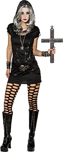 Ladies Hooded Sexy Lace Skeleton Mistress Gothic Halloween Horror Fancy Dress Costume Outfit (UK 14-16 (EU 42/44)) -