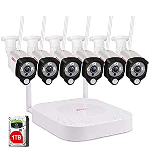 [Audio+PIR]Tonton 8CH Home Security Camera System Wireless, 8CH 1080P NVR Recorder with 6 PCs 1080P HD Waterproof Bullet…