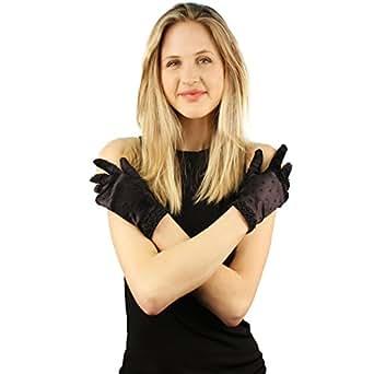 Gatsby 1920s Fancy Beaded Satin Stretchy Wrist Dressy Formal Gloves Black
