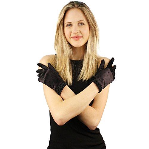 Gatsby 1920s Fancy Beaded Satin Stretchy Wrist Dressy Formal Gloves Black (Beaded Satin Hat)