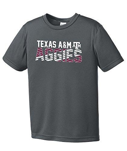 Texas Am Aggies Shirt (NCAA Texas A&M Aggies Boys Diagonal Sleeve Polyester Competitor T-Shirt, Iron Grey,IronGrey)