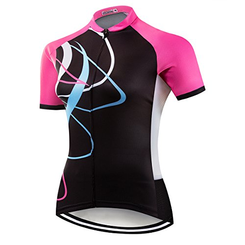 NASHRIO Women's Cycling Jersey Short Sleeve Road Bike Biking Shirt Tops Bicycle Clothes - Breathable and Quick-Dry with 3 Pockets