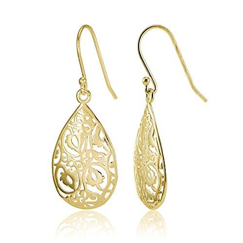Yellow Gold Flashed Sterling Silver Filigree Teardrop Earrings ()
