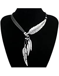 Fashion Vintage Indian Big Leaf Feather Charms Lariat Leather Costume Aztec Bib Necklace