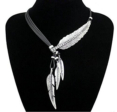Fashion Vintage Indian Big Leaf Feather Charms Lariat Leather Costume Aztec Bib Necklace (silver)