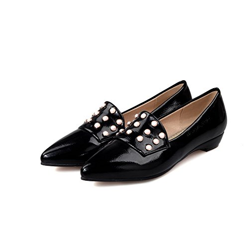 VogueZone009 Women's PU Solid Pull-On Closed Pointed Toe Low-Heels Pumps-Shoes Black gy9EtAbBH5