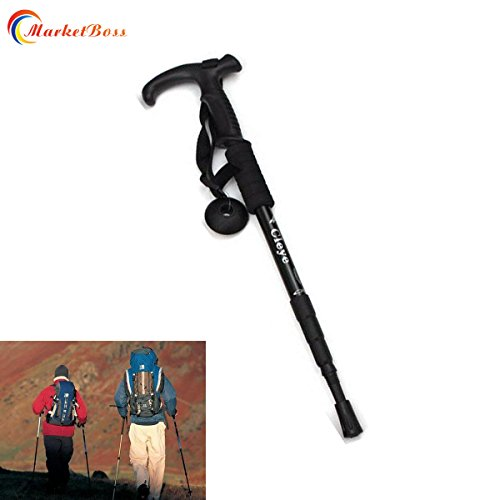 (MarketBoss Folding 19.29in Stretching 41.33in in Length Aluminum Alloy Alpenstock 4 Sections Anti-Shock Telescopic Walking Stick Adjustable Canes Crutch for Trekking Climbing Hiking Pole)