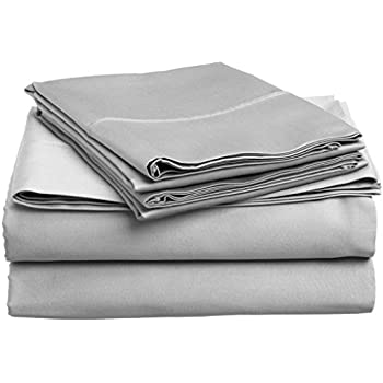 Mayfair Linen Bedding Collection 600 Thread Count Bedspread 100% Egyptian Cotton Sheet Set Sateen Weave Deep Pocket Premium Quality Bedding Set Silver Queen