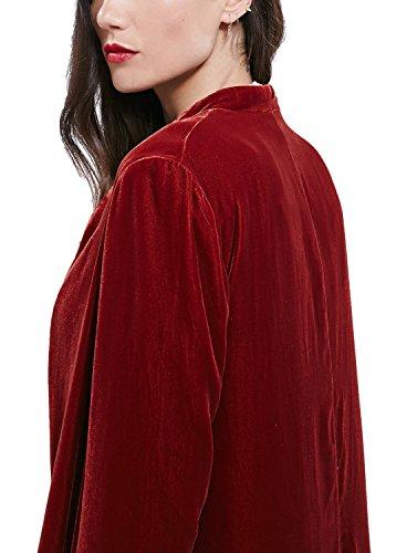 Rojo Abierta Goco Mujeres Para Moda Urban Drapeado Vino Cárdigan Chaqueta De 7vwW8qAIf
