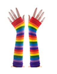 Punk Gothic Long Arm Warmer Fingerless Gloves (Rainbow)