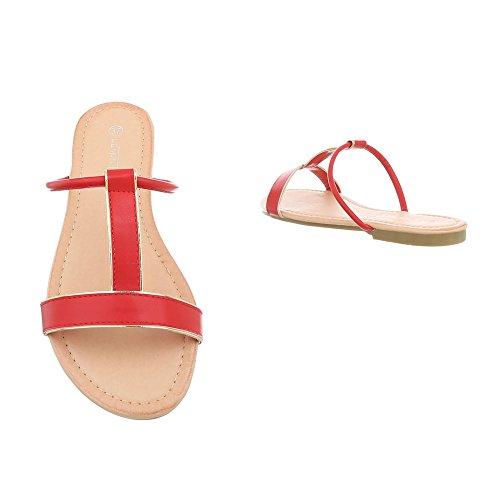 Mules Chaussures Femme Ital Rouge Sandales Bloc Design Pm203 Yxx0Zq1
