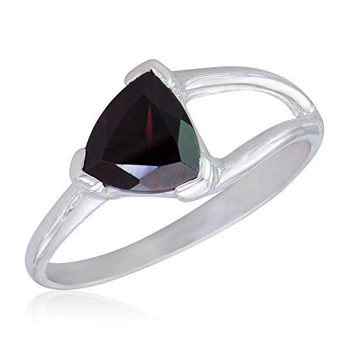 Women's Red Rock Sterling Silver Trilliant V-prong Set Garnet Ring
