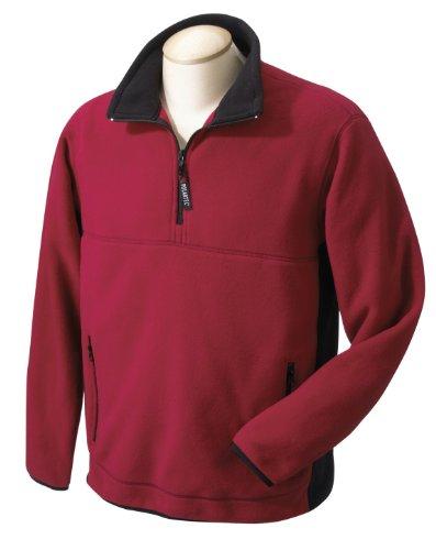 Chestnut Hill CH970 Polartec Colorblock Quarter-Zip Jacket - Cherry/Black - - Quarter Jacket Colorblock Zip