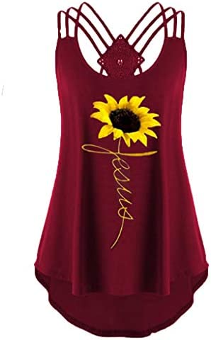 %E3%80%93COOlCCI%E3%80%93Womens Sleeveless Sunflower Printed Camisoles product image