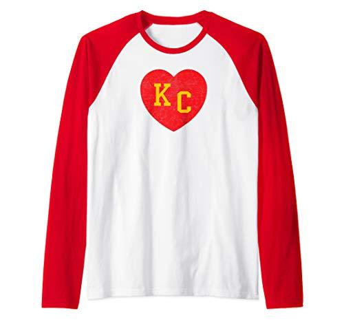 KC Red Football Heart Vintage Kansas City Pro Fan Gear Raglan Baseball Tee ()