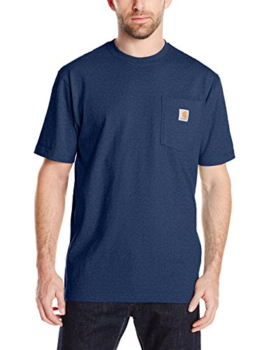 Carhartt Men's K87 Workwear Pocket Short Sleeve T-Shirt (Regular and Big & Tall Sizes), Dark Cobalt Blue Heather, X-Large (Soft Mix Cotton)
