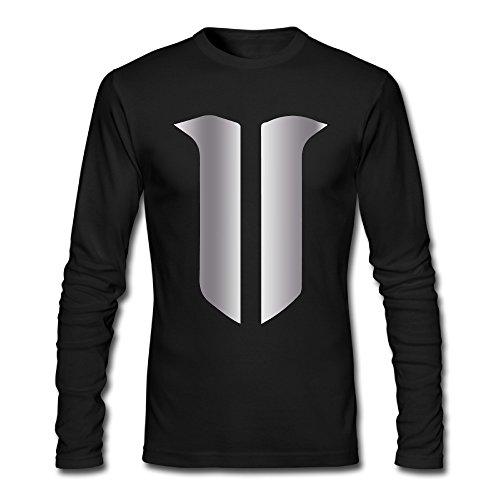 Men's StarCraft II Token Platinum Logo Long Sleeves T-shirts Black