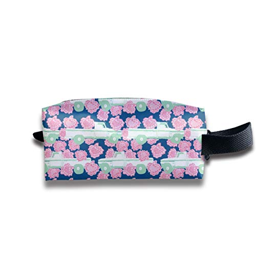 Szipry Cosmetic Bag Travel Handbag Pink Carnation and A Pick-Up Truck (Navy) Prints Womens Girls Toiletry Bag Zipper Wallet with Wrist Band