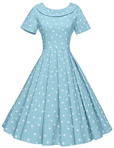 GownTown Women's 1950s Polka Dot Vintage Dresses Audrey Hepburn Style Party Dresses