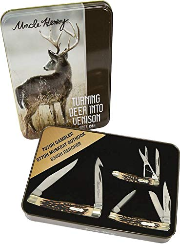 Uncle Henry Limited Edition Gift Set 3 Knives & Tin