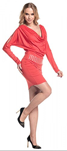 Empire con Abito scollo Glamour Vestito Donna aderente 916 borchie Corallo drappeggio dSSqfw