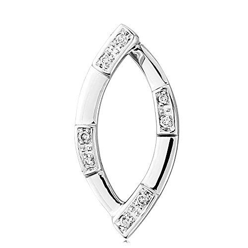 Jewelco London 9ct White Gold - Diamond Pendant