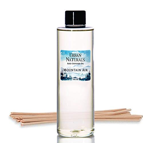 Urban Naturals Mountain Air Scented Oil Reed Diffuser Refill | Includes a Free Set of Reed Sticks! Fresh Herbs, Birch, Pear, Sage & Amber Fragrance Notes | 4 oz.