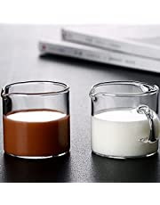 2 Pcs Double Spouts Milk Cups,URMAGIC 100ml Espresso Shot Glasses with Pouring Handle,2 Different Style Clear Glass Cup,Transparent Round Beaker, Glass Shot Pitcher for Wine Cocktail Drink Coffee